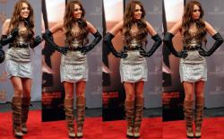 Miley Cyrus MiniVestido Con Botas En La Presentación De La Película Sex And The City 2, En El Ziegfeld Theatre En New York